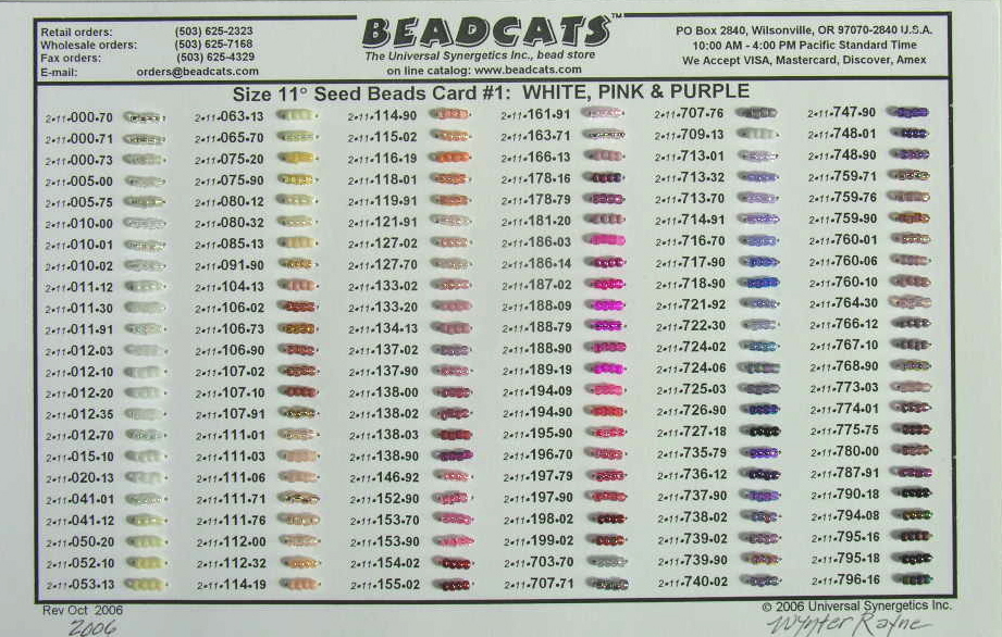 Beadcats catalog bead cards